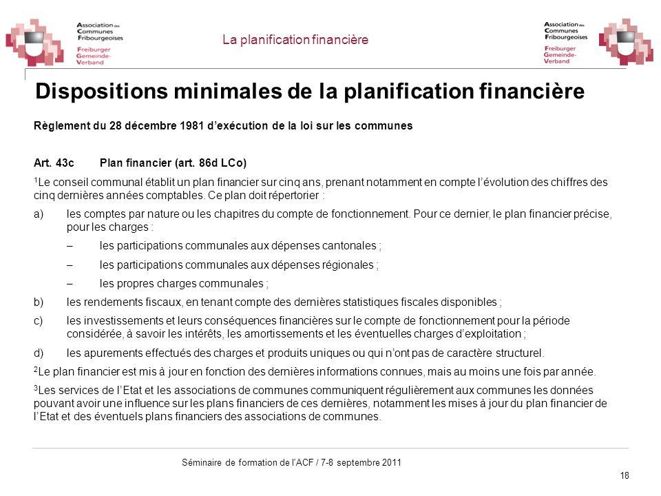 18 Séminaire de formation de l'ACF / 7-8 septembre 2011 Dispositions minimales de la planification financière Règlement du 28 décembre 1981 dexécution