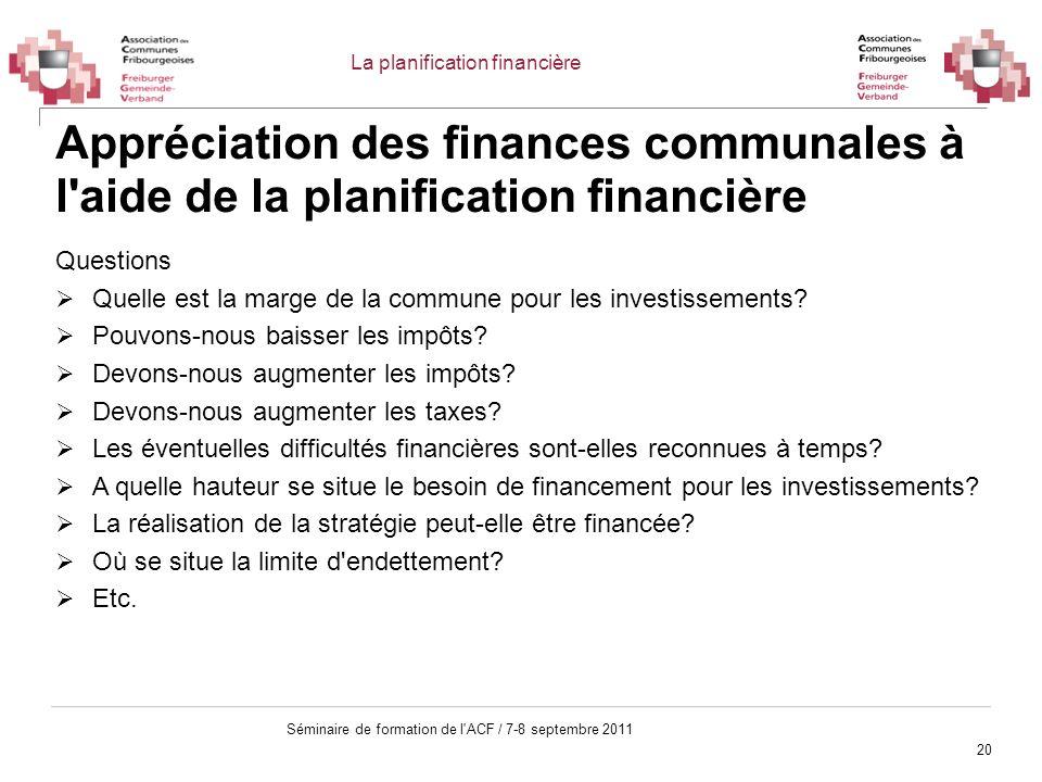 20 Séminaire de formation de l'ACF / 7-8 septembre 2011 Appréciation des finances communales à l'aide de la planification financière Questions Quelle