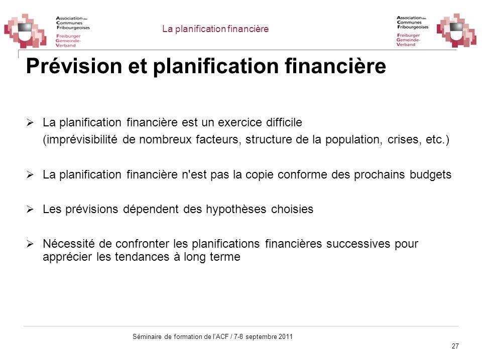 27 Séminaire de formation de l'ACF / 7-8 septembre 2011 Prévision et planification financière La planification financière est un exercice difficile (i