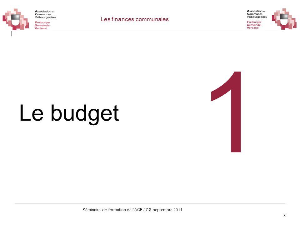 3 Séminaire de formation de l'ACF / 7-8 septembre 2011 Les finances communales Le budget 1