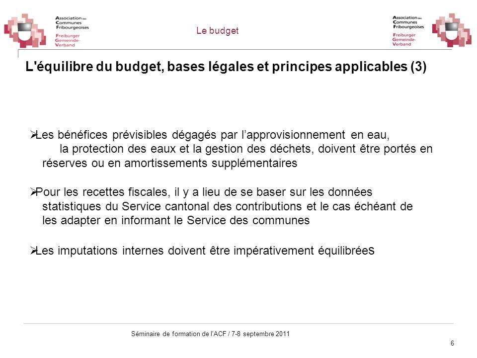6 Séminaire de formation de l'ACF / 7-8 septembre 2011 L'équilibre du budget, bases légales et principes applicables (3) Les bénéfices prévisibles dég