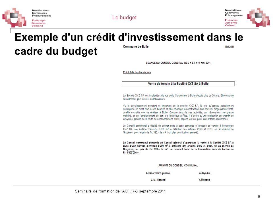 9 Séminaire de formation de l'ACF / 7-8 septembre 2011 Exemple d'un crédit d'investissement dans le cadre du budget Le budget