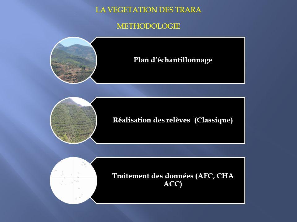 METHODOLOGIE Plan déchantillonnage Réalisation des relèves (Classique) Traitement des données (AFC, CHA ACC) LA VEGETATION DES TRARA