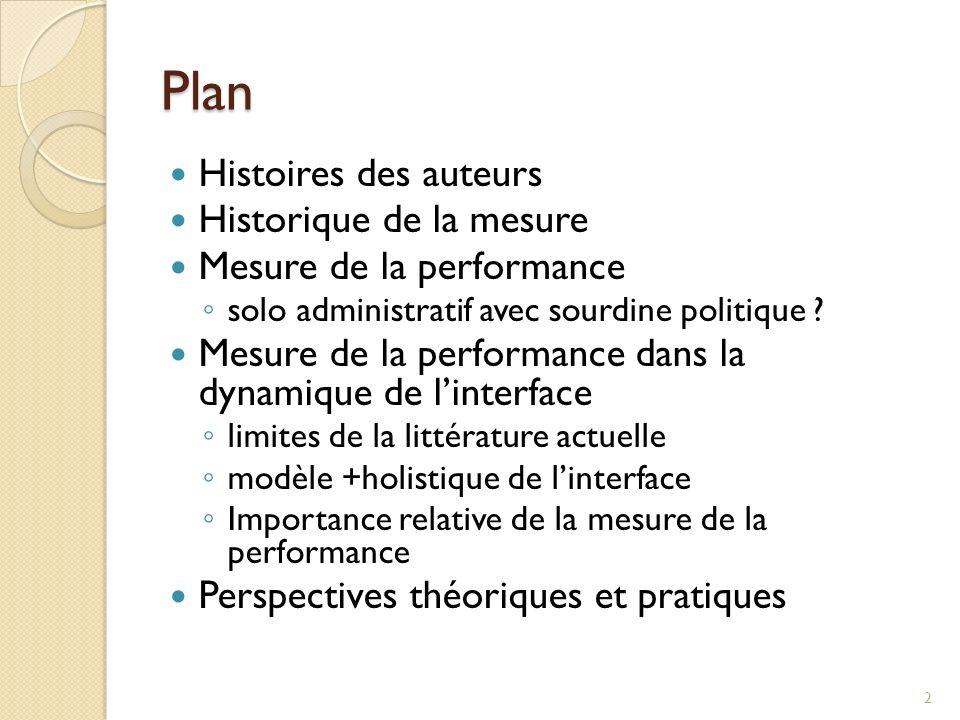 Plan Histoires des auteurs Historique de la mesure Mesure de la performance solo administratif avec sourdine politique ? Mesure de la performance dans