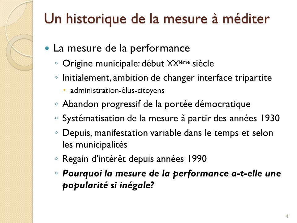 Un historique de la mesure à méditer La mesure de la performance Origine municipale: début XX ième siècle Initialement, ambition de changer interface