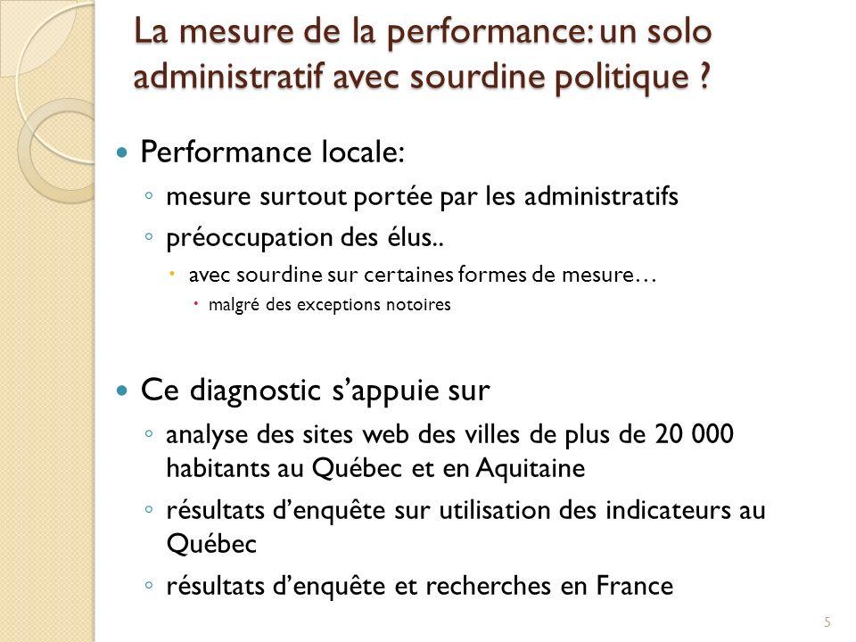 La mesure de la performance: un solo administratif avec sourdine politique ? Performance locale: mesure surtout portée par les administratifs préoccup