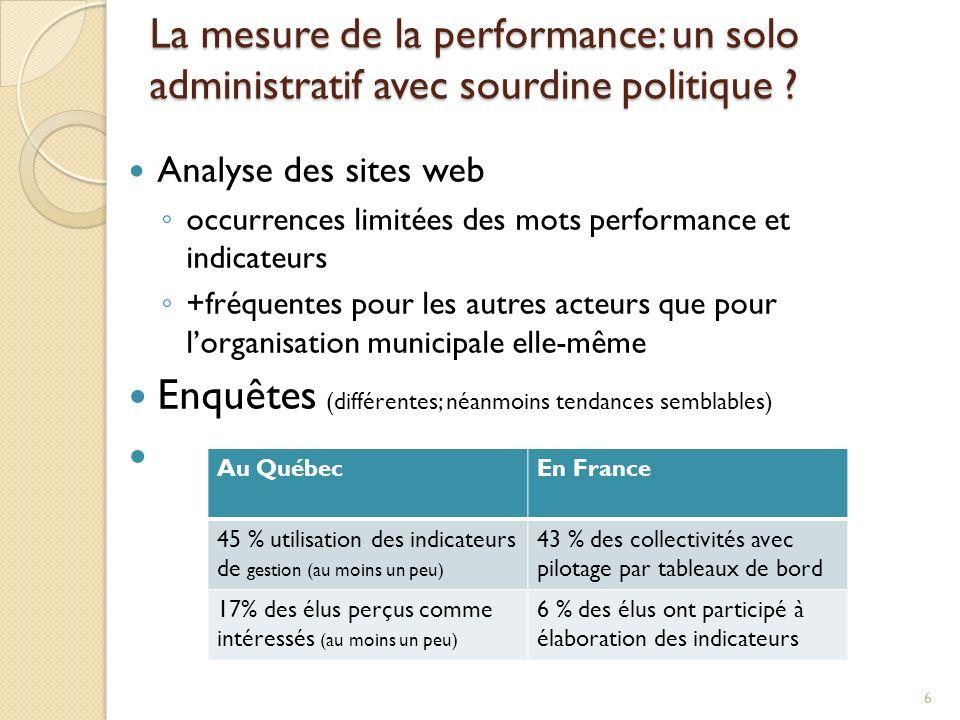 La mesure de la performance: un solo administratif avec sourdine politique ? Analyse des sites web occurrences limitées des mots performance et indica