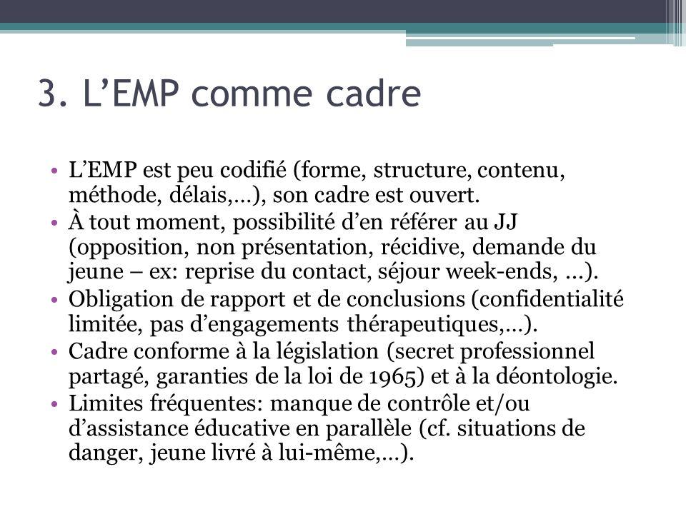 3. LEMP comme cadre LEMP est peu codifié (forme, structure, contenu, méthode, délais,…), son cadre est ouvert. À tout moment, possibilité den référer
