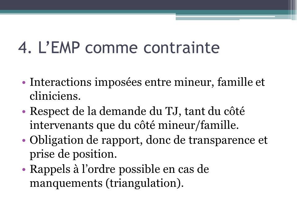 4. LEMP comme contrainte Interactions imposées entre mineur, famille et cliniciens. Respect de la demande du TJ, tant du côté intervenants que du côté
