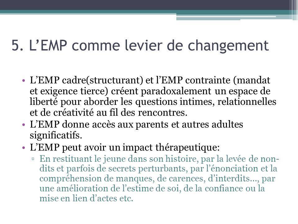 5. LEMP comme levier de changement LEMP cadre(structurant) et lEMP contrainte (mandat et exigence tierce) créent paradoxalement un espace de liberté p