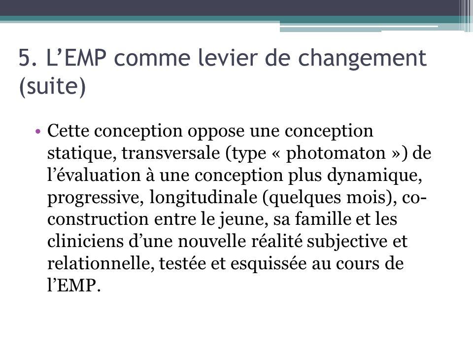 5. LEMP comme levier de changement (suite) Cette conception oppose une conception statique, transversale (type « photomaton ») de lévaluation à une co