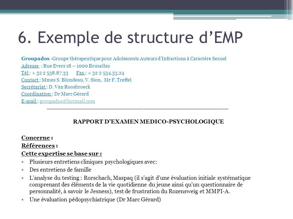 6. Exemple de structure dEMP Groupados -Groupe thérapeutique pour Adolescents Auteurs dInfractions à Caractère Sexuel Adresse : Rue Evers 18 – 1000 Br
