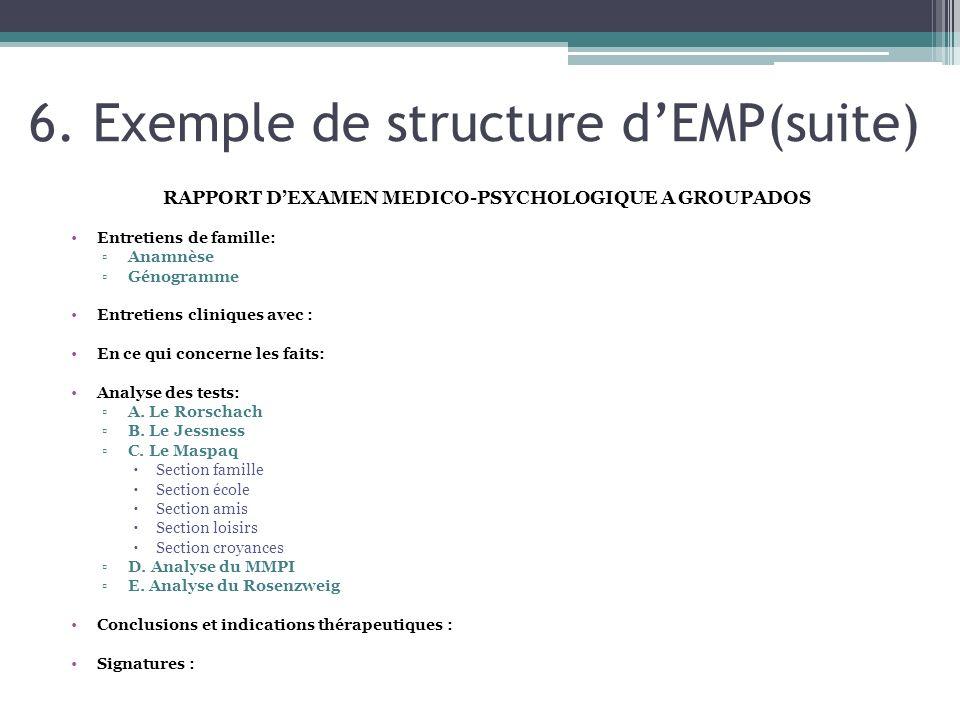 6. Exemple de structure dEMP(suite) RAPPORT DEXAMEN MEDICO-PSYCHOLOGIQUE A GROUPADOS Entretiens de famille: Anamnèse Génogramme Entretiens cliniques a