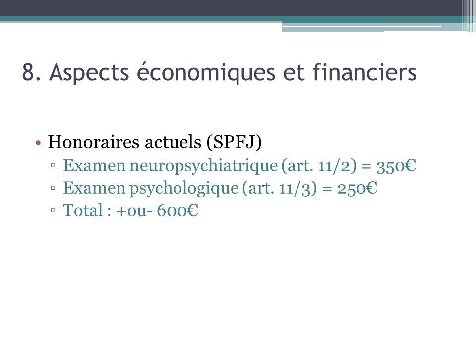 8. Aspects économiques et financiers Honoraires actuels (SPFJ) Examen neuropsychiatrique (art. 11/2) = 350 Examen psychologique (art. 11/3) = 250 Tota