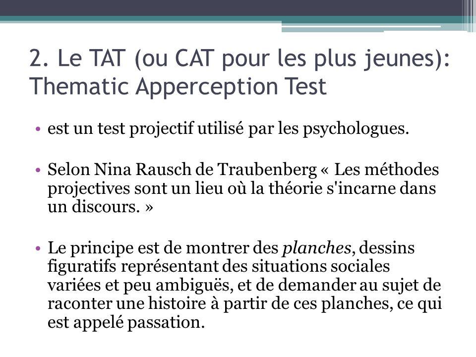 2. Le TAT (ou CAT pour les plus jeunes): Thematic Apperception Test est un test projectif utilisé par les psychologues. Selon Nina Rausch de Traubenbe