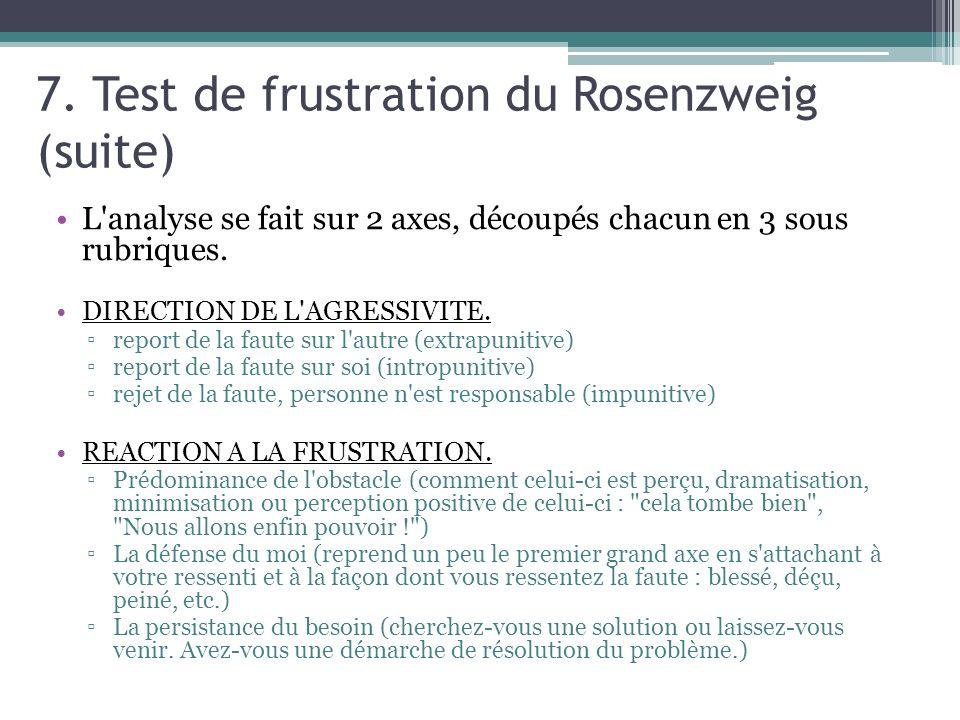 7. Test de frustration du Rosenzweig (suite) L'analyse se fait sur 2 axes, découpés chacun en 3 sous rubriques. DIRECTION DE L'AGRESSIVITE. report de