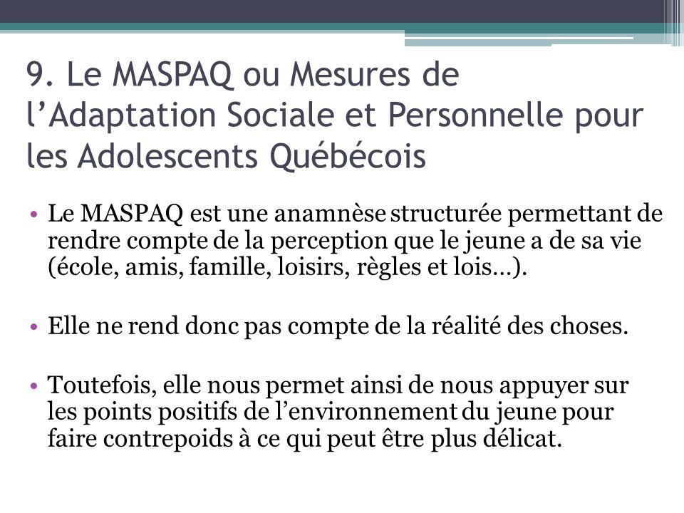 9. Le MASPAQ ou Mesures de lAdaptation Sociale et Personnelle pour les Adolescents Québécois Le MASPAQ est une anamnèse structurée permettant de rendr