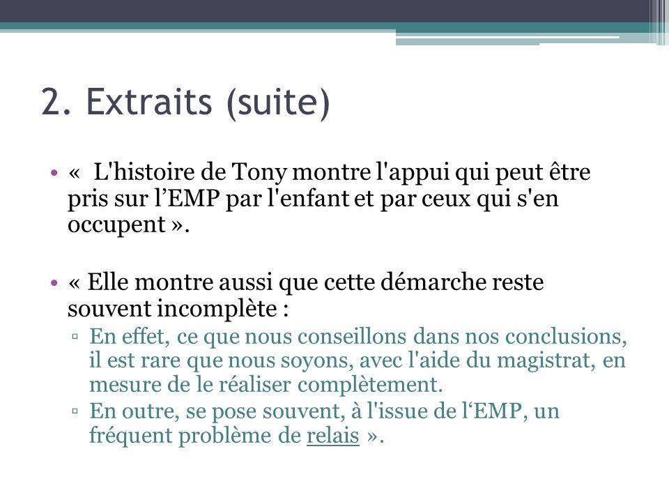 2.Extraits (suite) « Comment pouvons-nous promouvoir la réalisation de nos recommandations .