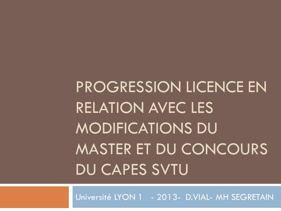 PROGRESSION LICENCE EN RELATION AVEC LES MODIFICATIONS DU MASTER ET DU CONCOURS DU CAPES SVTU Université LYON 1 - 2013- D.VIAL- MH SEGRETAIN