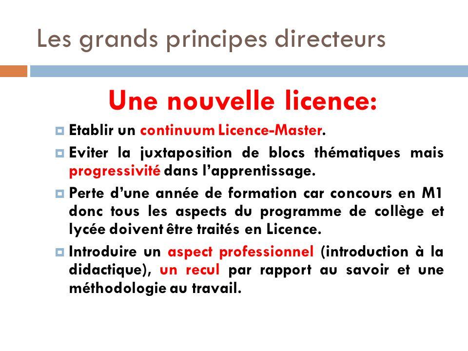 Les grands principes directeurs Une nouvelle licence: Etablir un continuum Licence-Master.