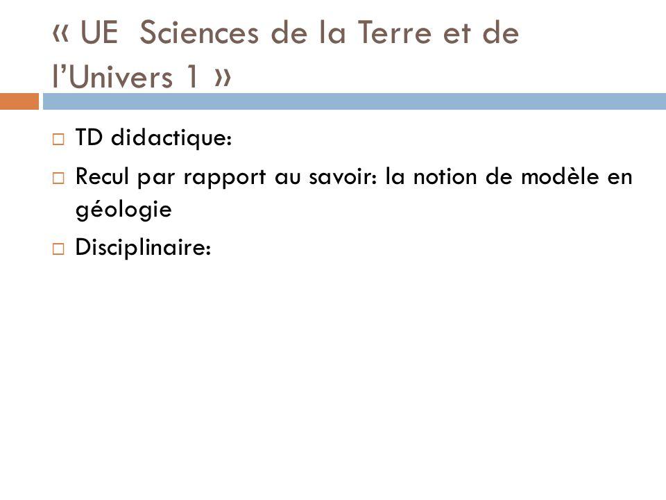 « UE Sciences de la Terre et de lUnivers 1 » TD didactique: Recul par rapport au savoir: la notion de modèle en géologie Disciplinaire: