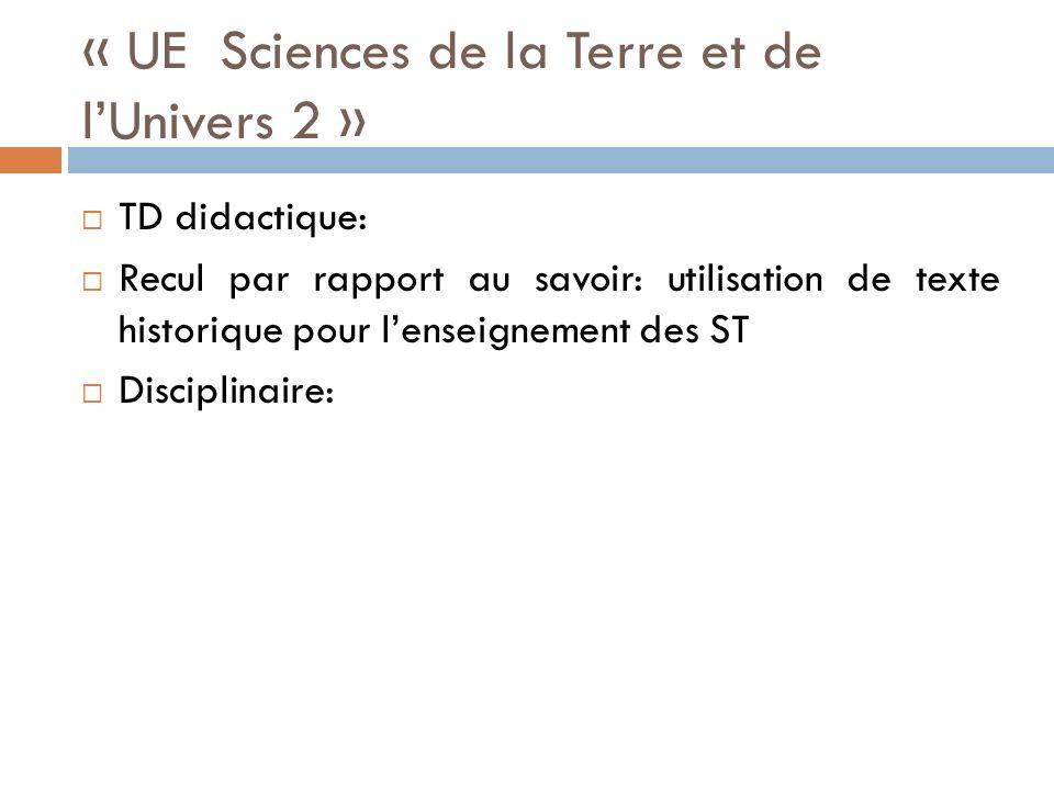 « UE Sciences de la Terre et de lUnivers 2 » TD didactique: Recul par rapport au savoir: utilisation de texte historique pour lenseignement des ST Disciplinaire: