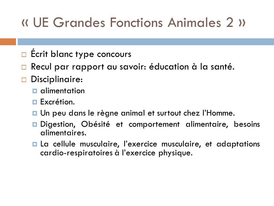 « UE Grandes Fonctions Animales 2 » Écrit blanc type concours Recul par rapport au savoir: éducation à la santé.