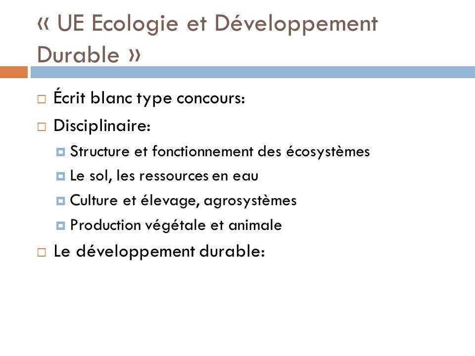« UE Ecologie et Développement Durable » Écrit blanc type concours: Disciplinaire: Structure et fonctionnement des écosystèmes Le sol, les ressources en eau Culture et élevage, agrosystèmes Production végétale et animale Le développement durable: