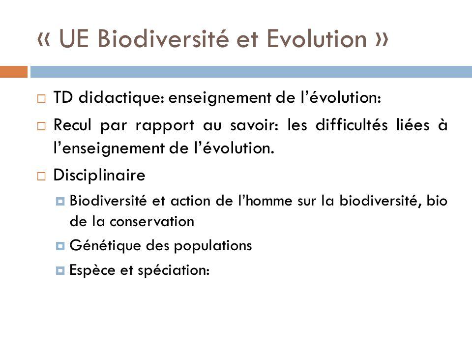 « UE Biodiversité et Evolution » TD didactique: enseignement de lévolution: Recul par rapport au savoir: les difficultés liées à lenseignement de lévolution.