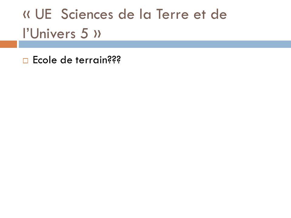 « UE Sciences de la Terre et de lUnivers 5 » Ecole de terrain???