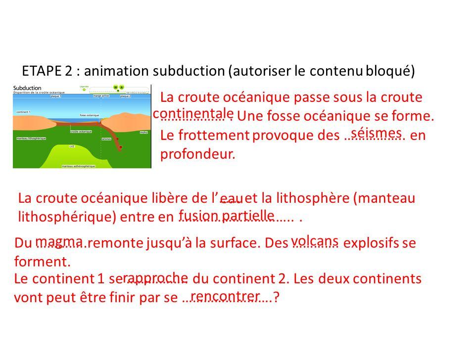 ETAPE 2 : animation subduction (autoriser le contenu bloqué) La croute océanique passe sous la croute ………………. Une fosse océanique se forme. Le frottem