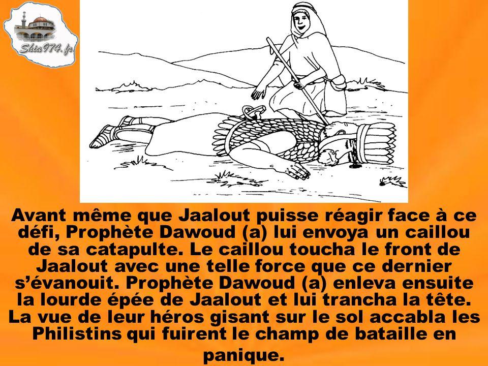 Avant même que Jaalout puisse réagir face à ce défi, Prophète Dawoud (a) lui envoya un caillou de sa catapulte. Le caillou toucha le front de Jaalout