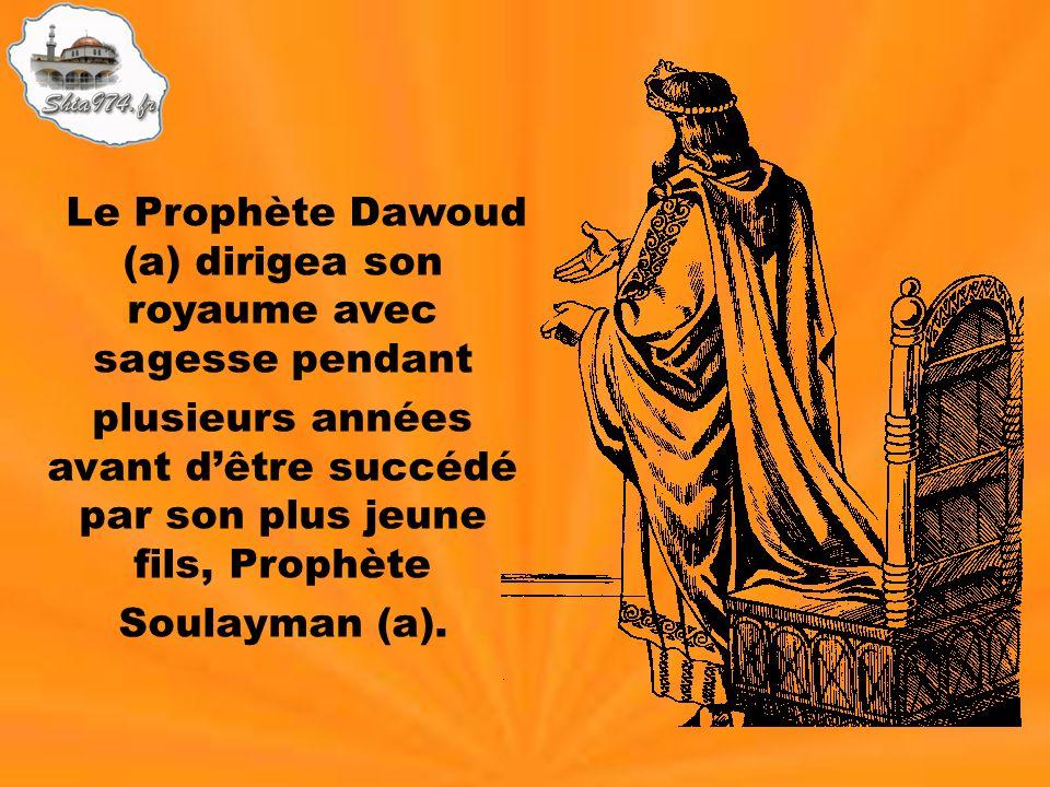 Le Prophète Dawoud (a) dirigea son royaume avec sagesse pendant plusieurs années avant dêtre succédé par son plus jeune fils, Prophète Soulayman (a).