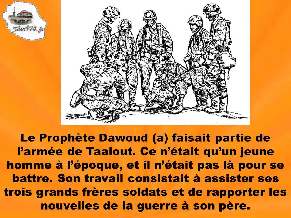 Le Prophète Dawoud (a) faisait partie de larmée de Taalout. Ce nétait quun jeune homme à lépoque, et il nétait pas là pour se battre. Son travail cons