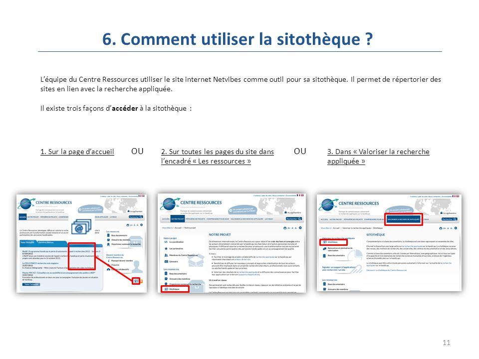 11 6. Comment utiliser la sitothèque .