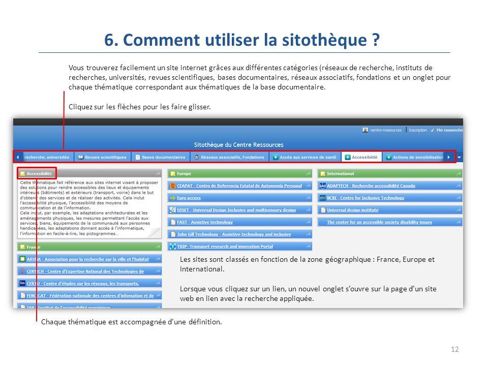 12 6. Comment utiliser la sitothèque .