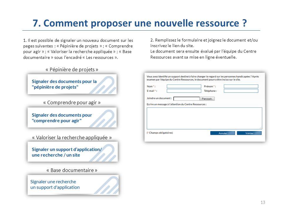 13 7. Comment proposer une nouvelle ressource . 1.