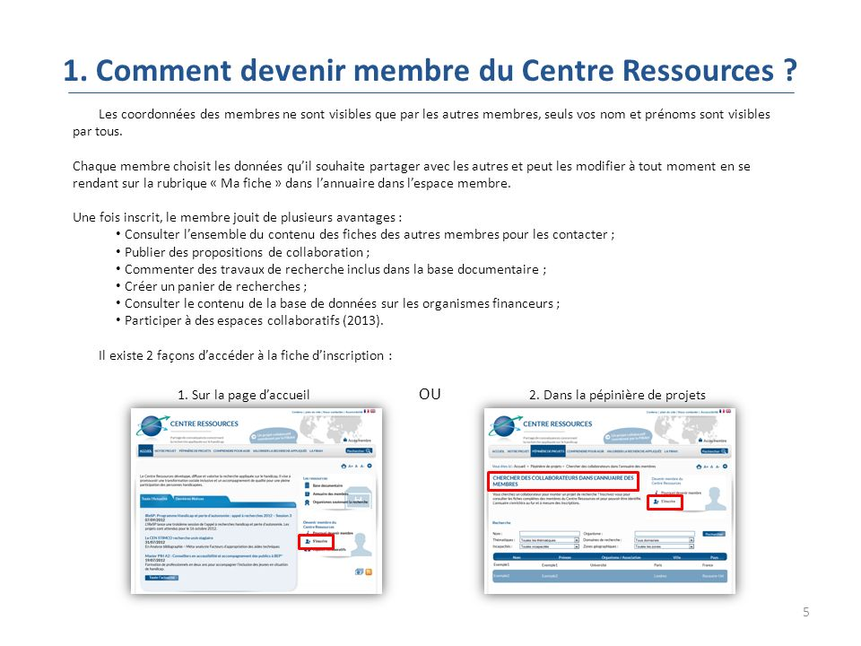 5 1. Comment devenir membre du Centre Ressources .