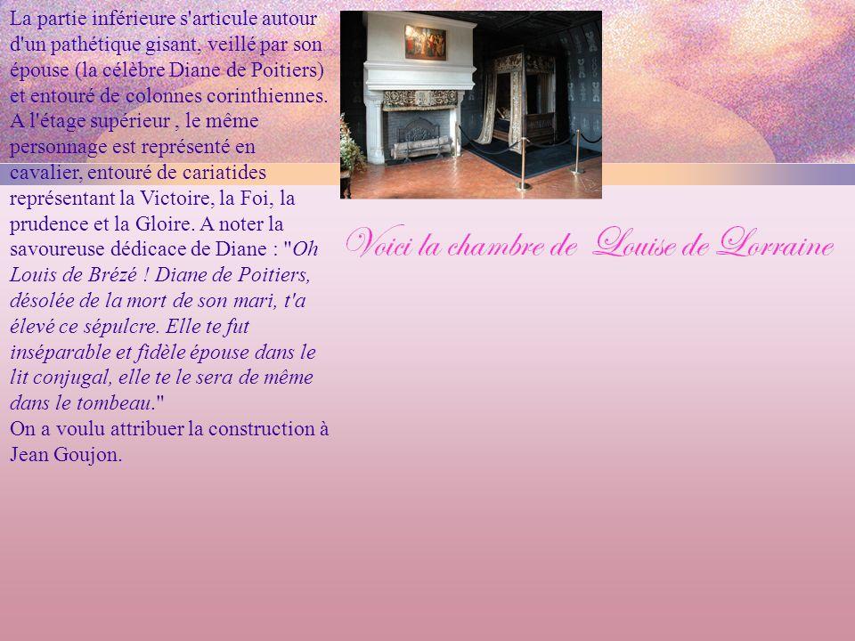La partie inférieure s articule autour d un pathétique gisant, veillé par son épouse (la célèbre Diane de Poitiers) et entouré de colonnes corinthiennes.