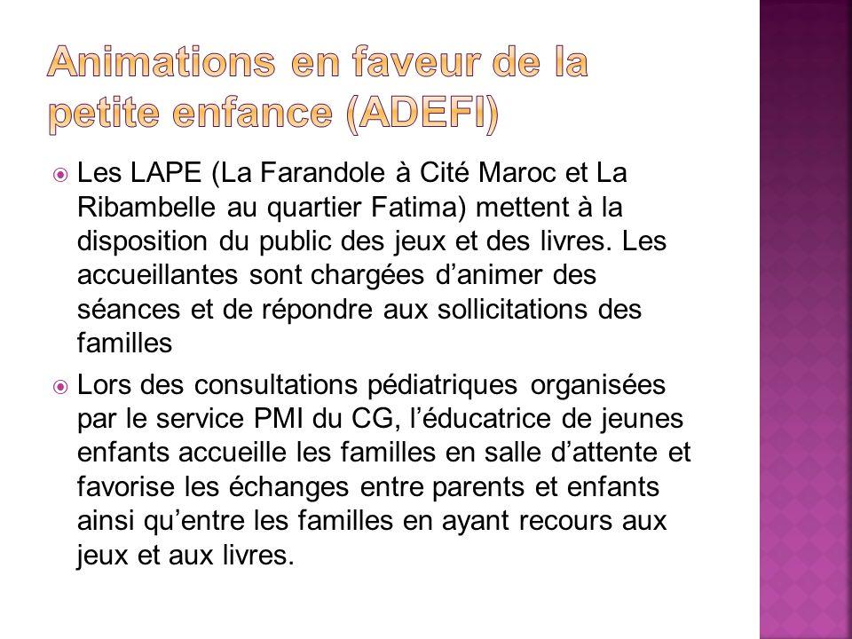 Les LAPE (La Farandole à Cité Maroc et La Ribambelle au quartier Fatima) mettent à la disposition du public des jeux et des livres. Les accueillantes