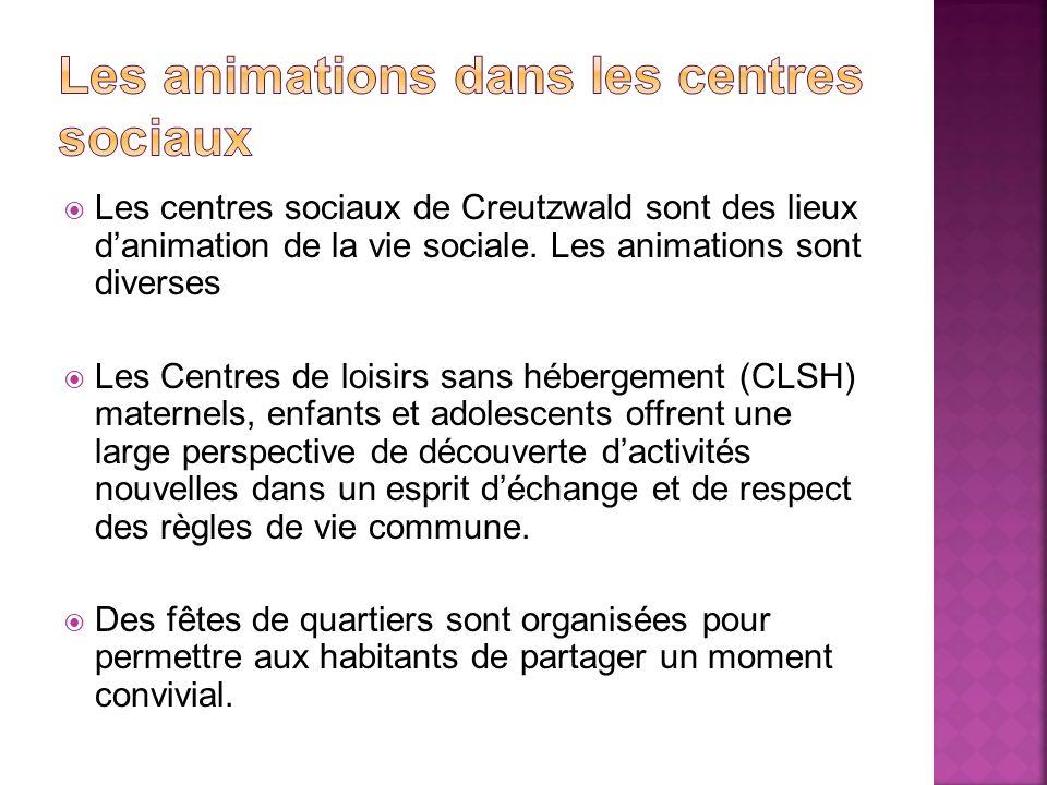 Les centres sociaux de Creutzwald sont des lieux danimation de la vie sociale. Les animations sont diverses Les Centres de loisirs sans hébergement (C