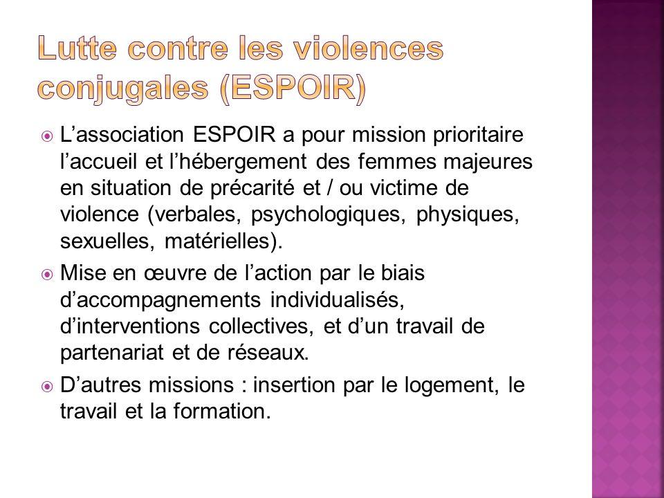 Lassociation ESPOIR a pour mission prioritaire laccueil et lhébergement des femmes majeures en situation de précarité et / ou victime de violence (ver