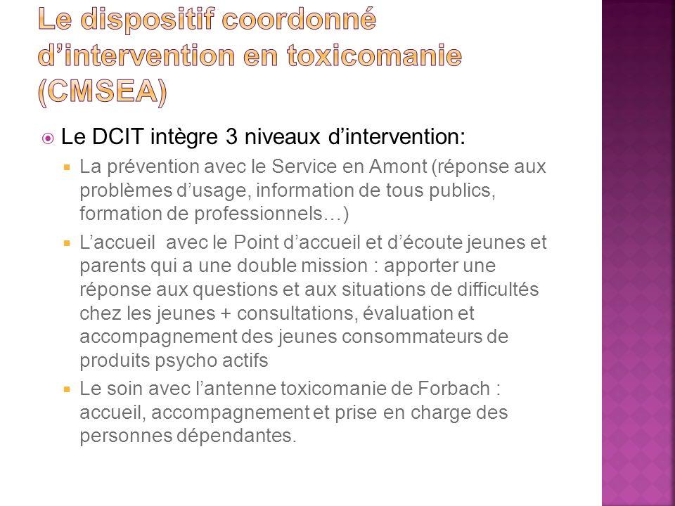 Le DCIT intègre 3 niveaux dintervention: La prévention avec le Service en Amont (réponse aux problèmes dusage, information de tous publics, formation