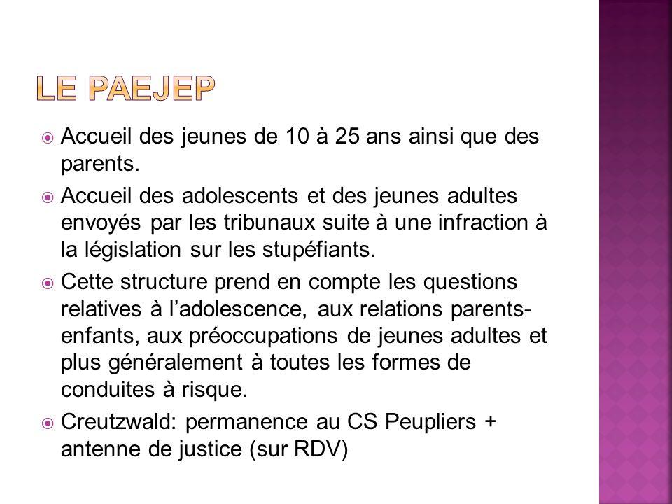 Accueil des jeunes de 10 à 25 ans ainsi que des parents. Accueil des adolescents et des jeunes adultes envoyés par les tribunaux suite à une infractio