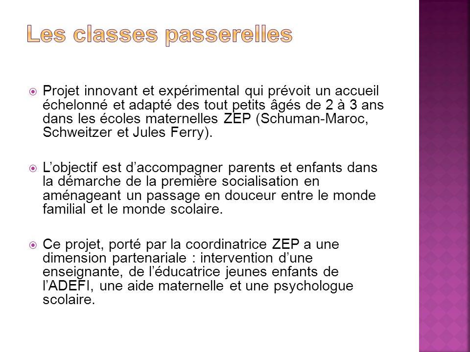 Projet innovant et expérimental qui prévoit un accueil échelonné et adapté des tout petits âgés de 2 à 3 ans dans les écoles maternelles ZEP (Schuman-