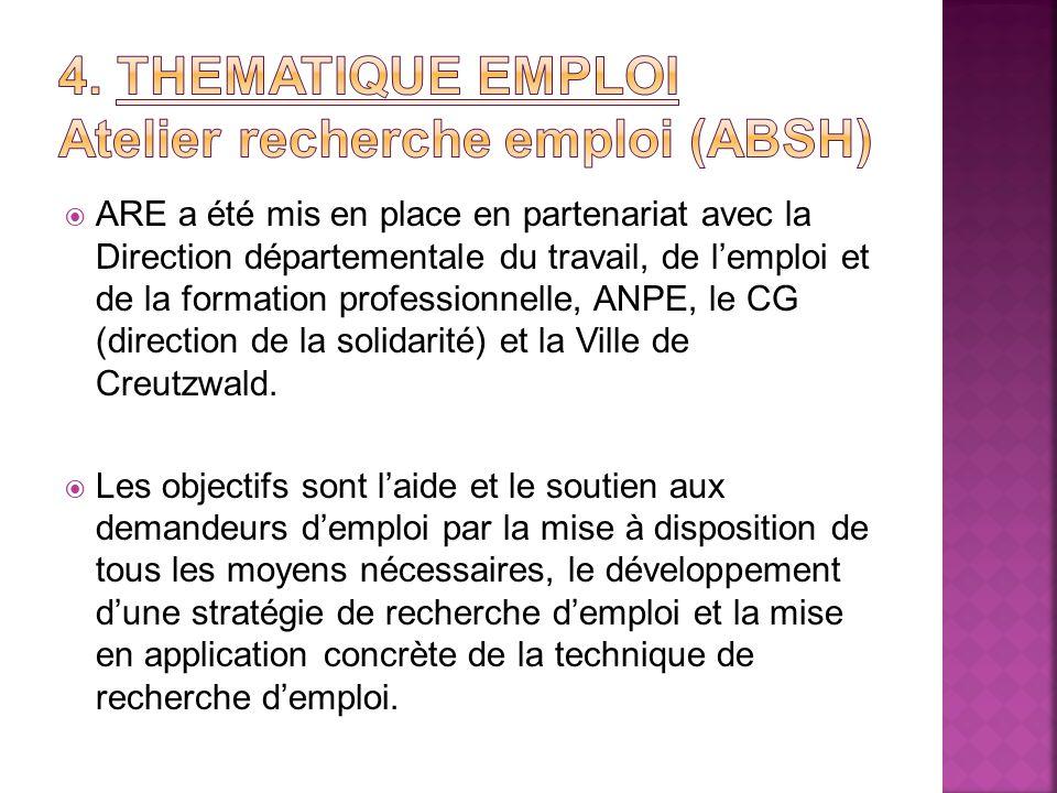 ARE a été mis en place en partenariat avec la Direction départementale du travail, de lemploi et de la formation professionnelle, ANPE, le CG (directi