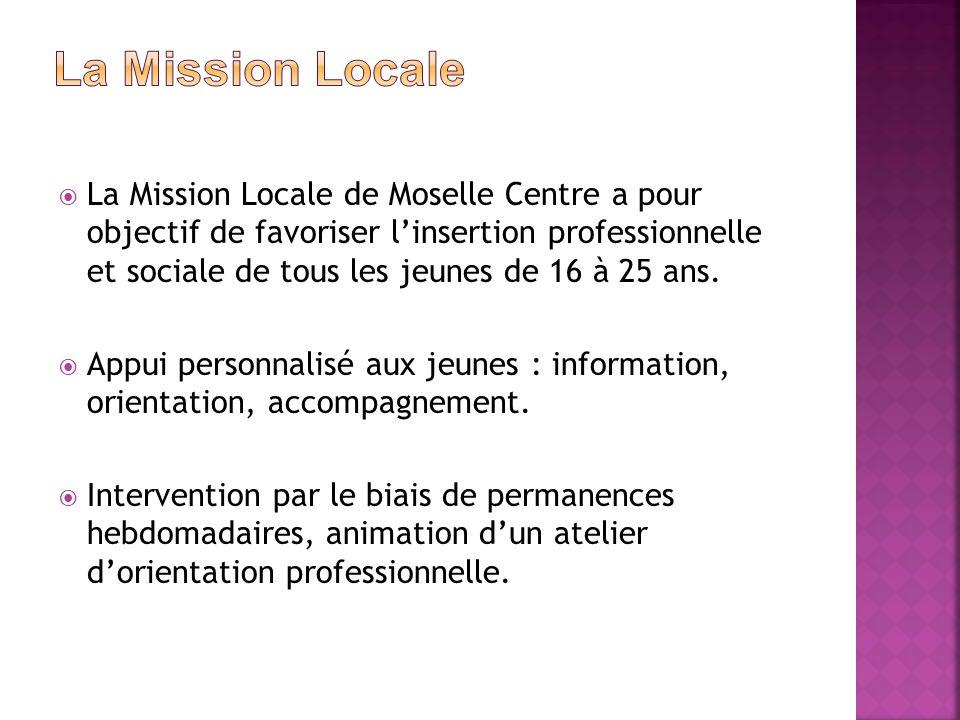 La Mission Locale de Moselle Centre a pour objectif de favoriser linsertion professionnelle et sociale de tous les jeunes de 16 à 25 ans. Appui person