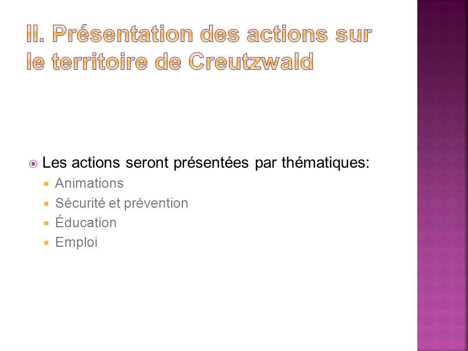 Les actions seront présentées par thématiques: Animations Sécurité et prévention Éducation Emploi