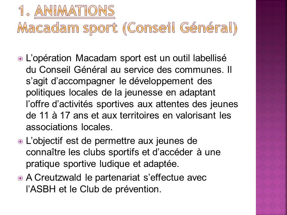 Lopération Macadam sport est un outil labellisé du Conseil Général au service des communes. Il sagit daccompagner le développement des politiques loca
