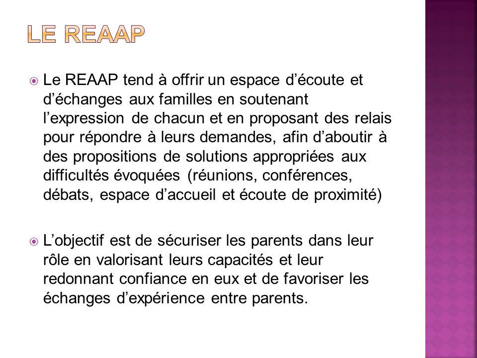 Le REAAP tend à offrir un espace découte et déchanges aux familles en soutenant lexpression de chacun et en proposant des relais pour répondre à leurs
